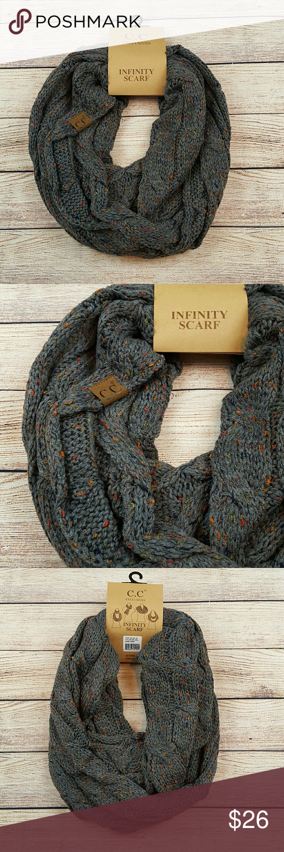 87dd65bf6 C.C flecked infinity scarf C.C brand flecked infinity scarf in a melange  grey color. 100% acrylic. Bundle to save more. Please feel free to ask  questions.