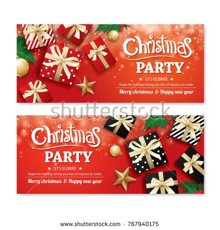 Invitation Merry Christmas Party Poster Banner And Greeting Card Design Template On Red Background Happy H Christmas Party Poster Party Poster Christmas Party