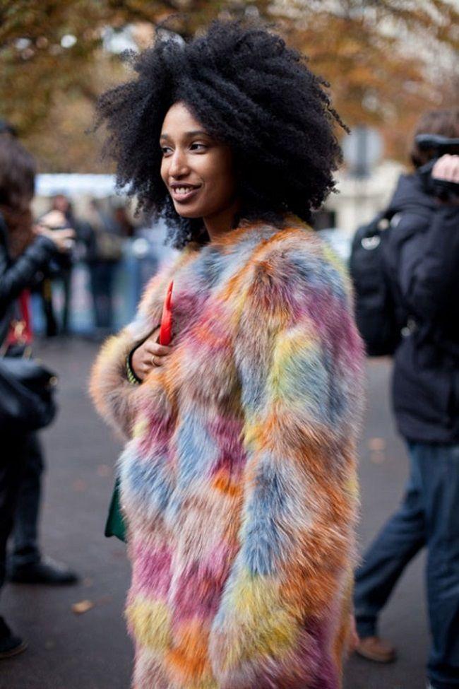 Multicolor Fur Coat