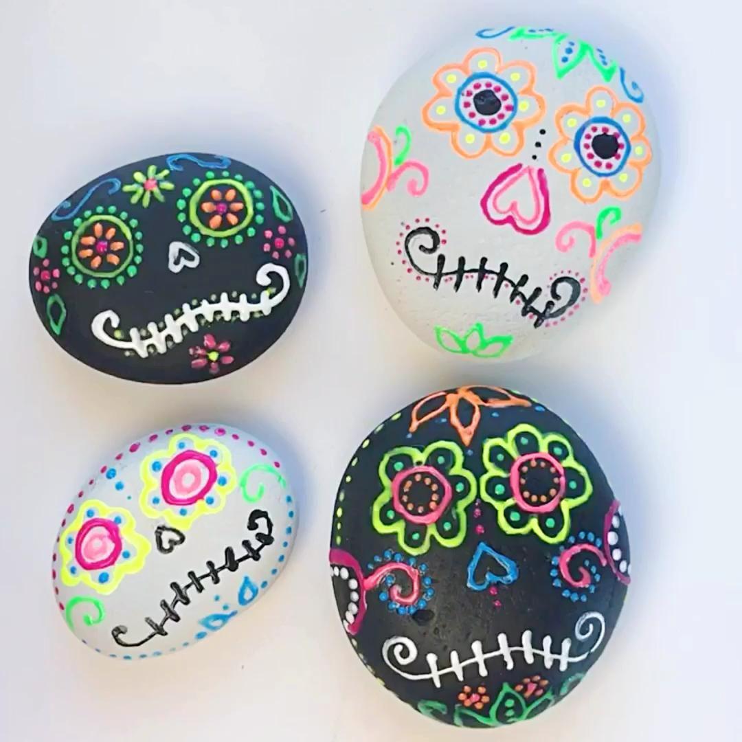 Sugar Skull Painted Rocks