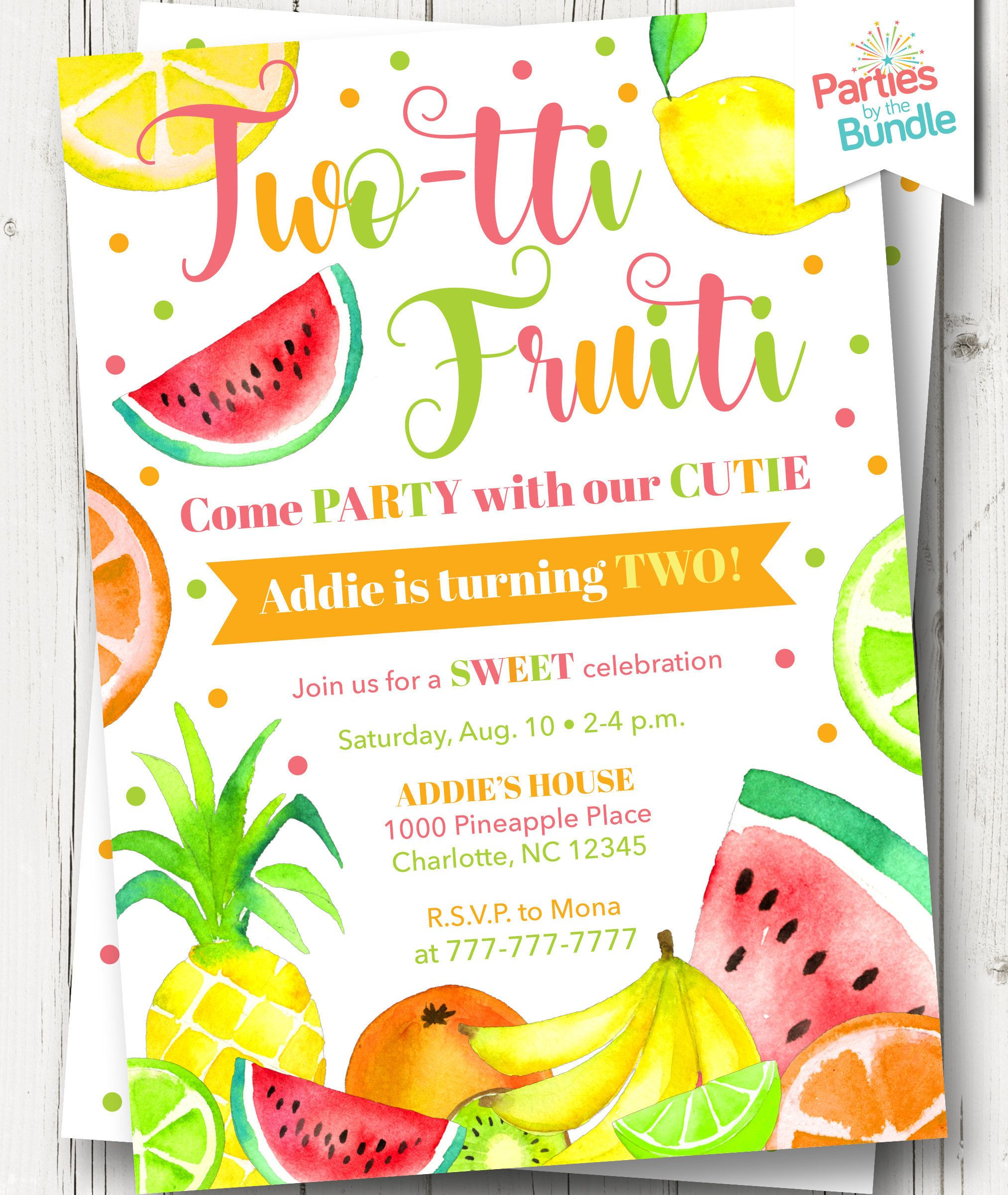 Tutti Fruity Birthday Invitation Summer 2nd Invite Fruit Tropical