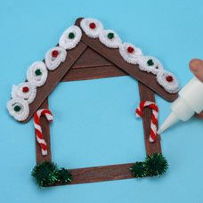 Gingerbread House Picture Frame Preschool Winter Craft Stick Crafts