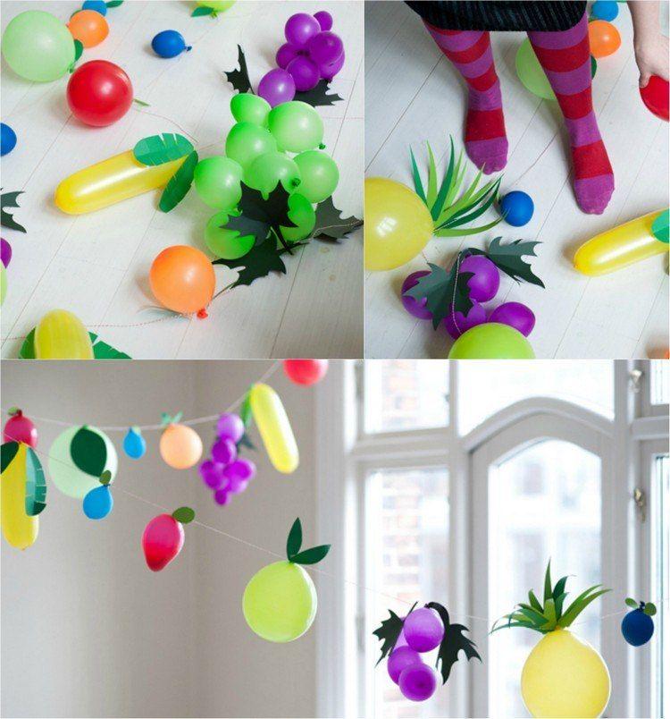 Fasching Deko Basteln luftballons wie früchte verkleidet girlanden schmücken die wohnung