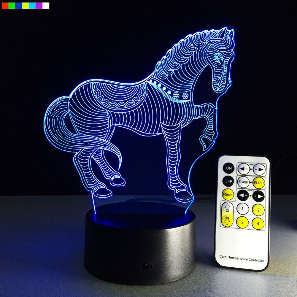 Night Light For Kids Horse 7 Colors Change With Remote Zebra