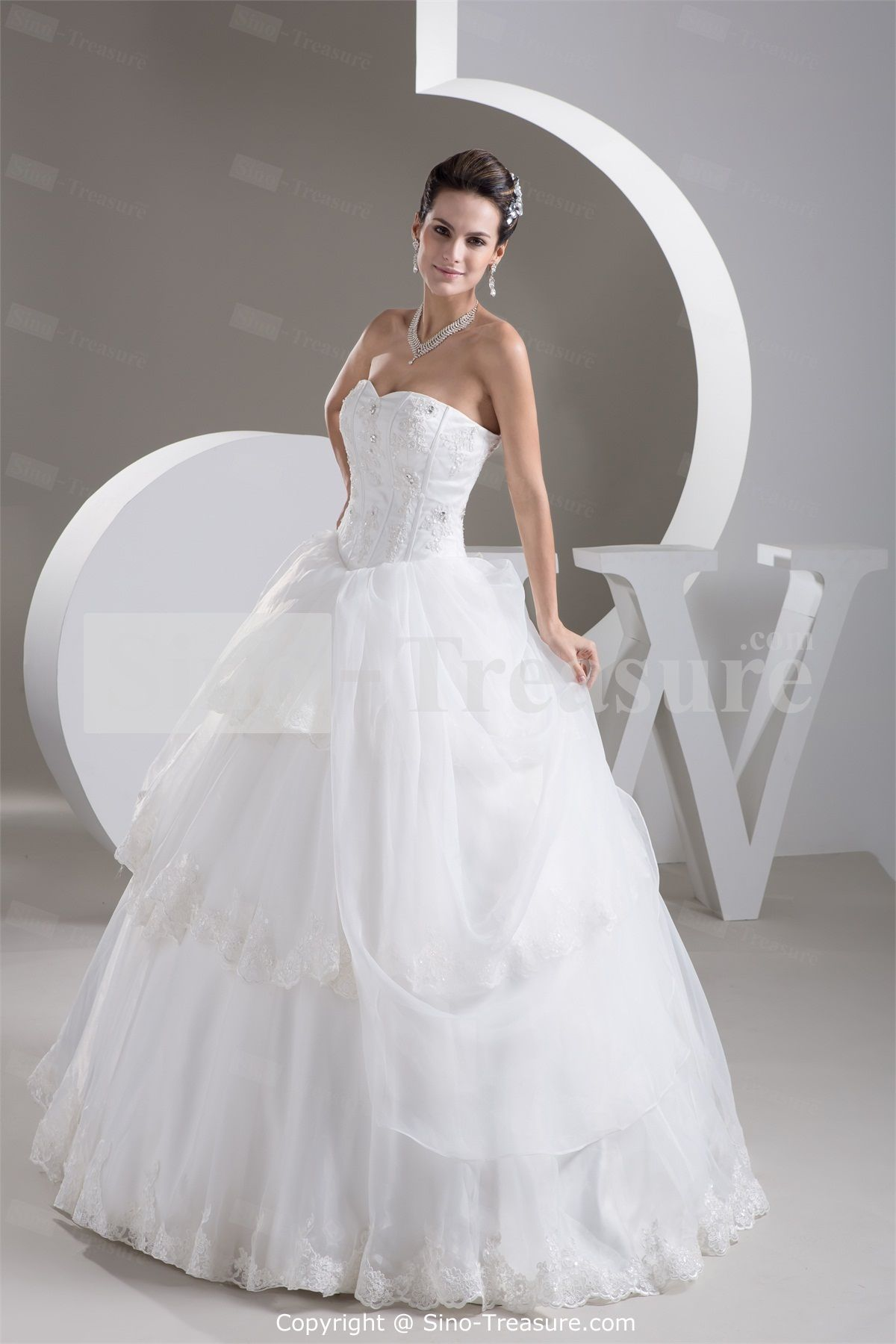 White empire zipperback sleeveless aline wedding dress my