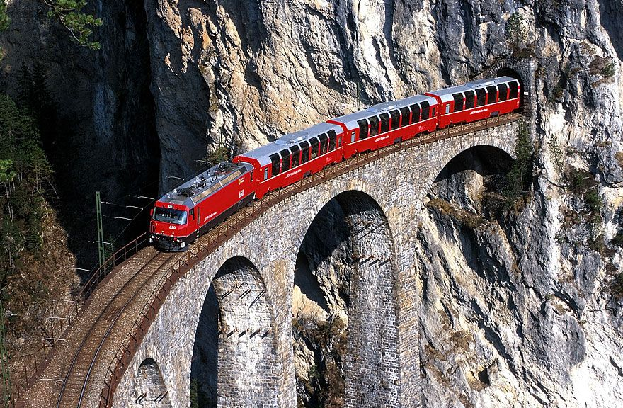TheBernina Express is an express train connectingChur (orDavos) inSwitzerland withPoschiavo andTirano inItaly, by crossing theSwiss Alps from north to south. For most of its journey, the train also passes along and through theWorld Heritage Site known as theRhaetian Railway in theAlbula /Bernina Landscapes.