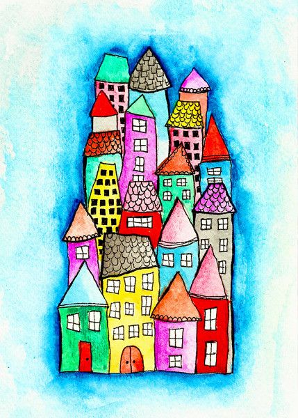 Alisa Burke — colorful neighborhood matted art print 8x10