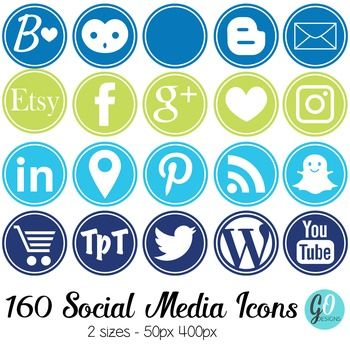 Social Media Icon Set: Round, 200 Blog Icons, Blue Green