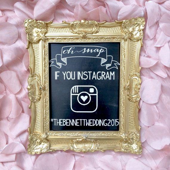 Instagram Sign Gold Frame Wedding Chalkboard Ornate