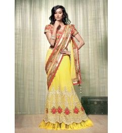 2effc6c493 Tremendous Yellow Colored Embroidered Georgette Lehenga Saree 1208 ...