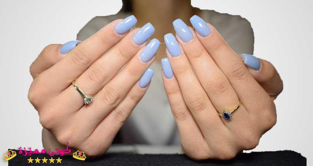 احدث مناكير ازرق سماوي فاتح و غامق 2019 The Latest Light And Dark Blue Nail Polish صور المانكير السم Blue Nails Blue Acrylic Nails Baby Blue Nails