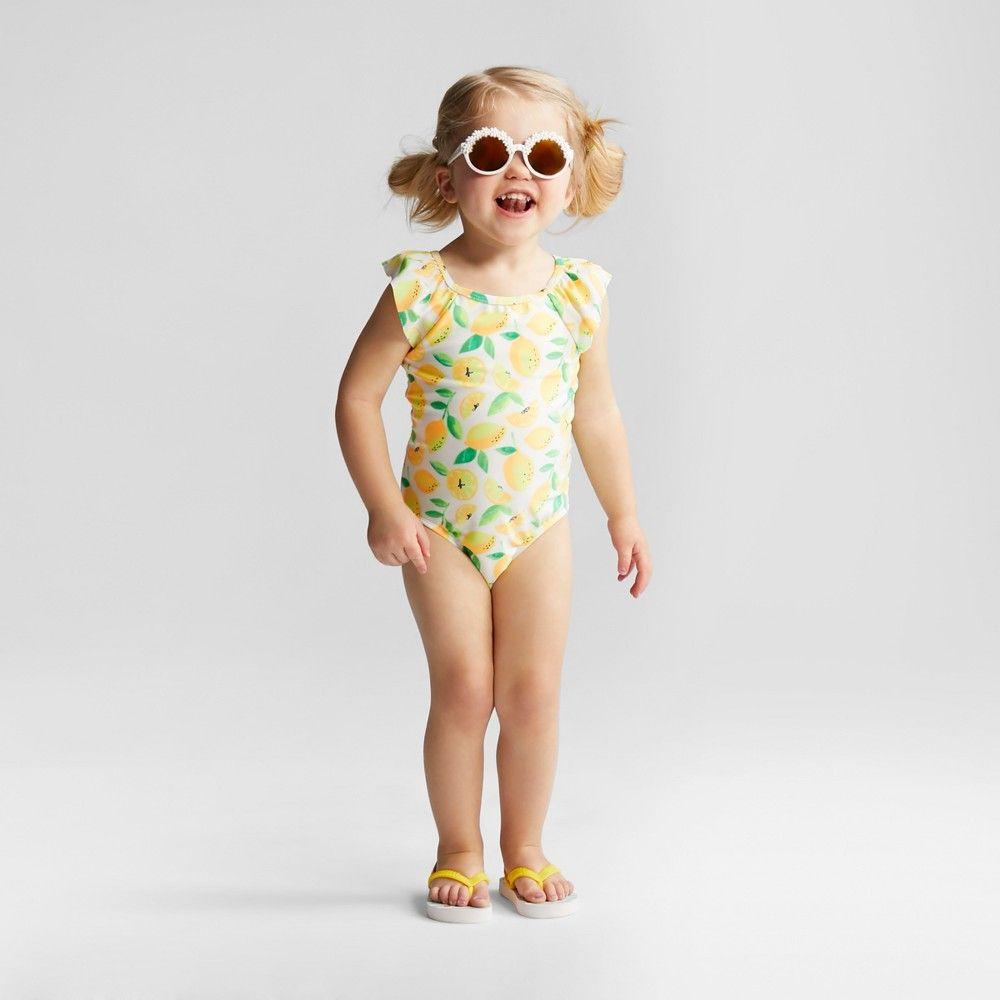 defe647629 Toddler Girls  Lemon One Piece Swimsuit - Cat   Jack Yellow 3T ...