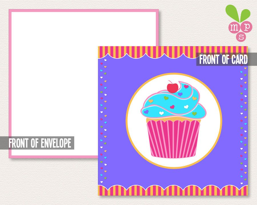 INSTANT DOWNLOAD- Mini Gift Notecard- Girly Cupcake  Hearts- Small
