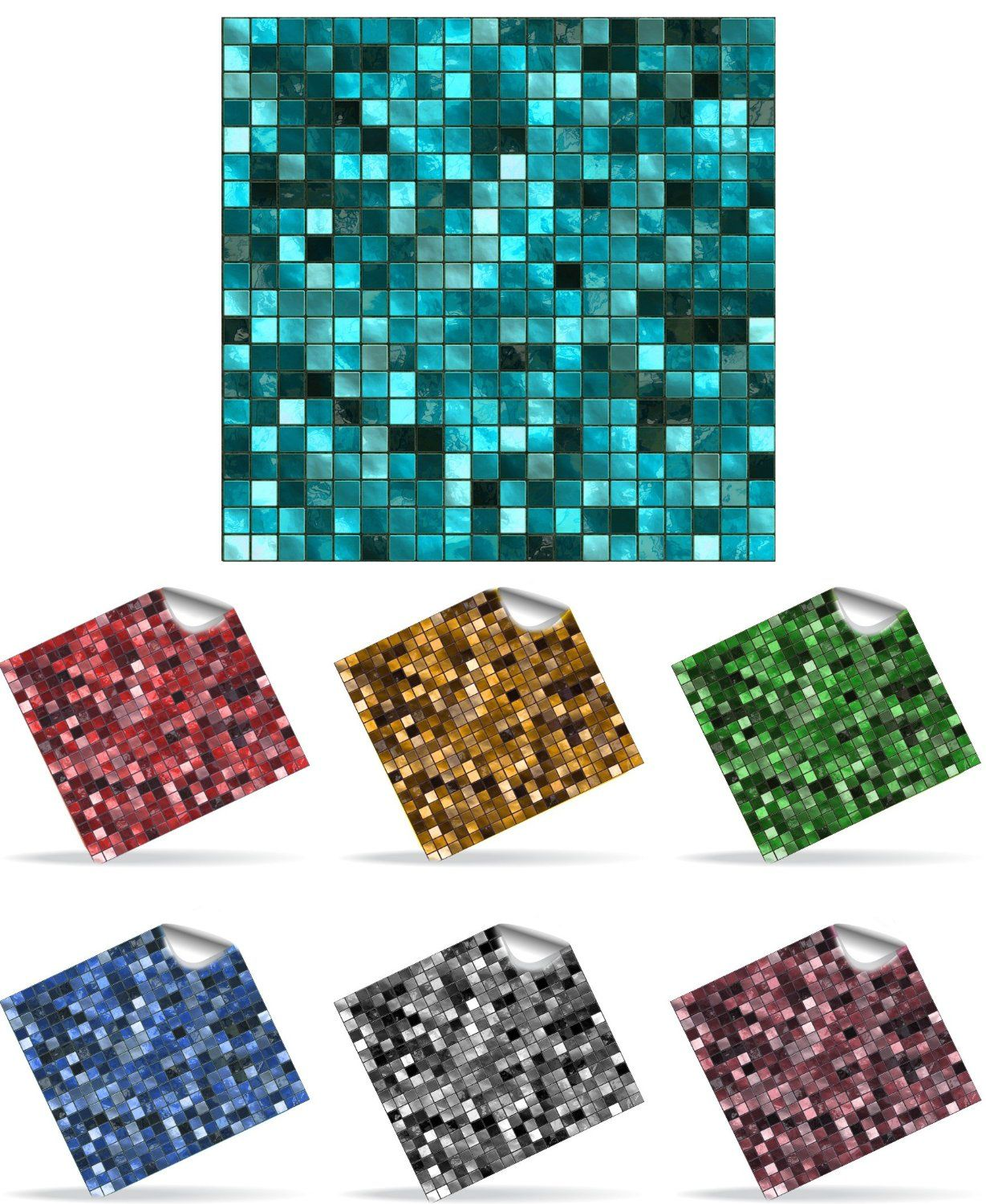 30 Self Adhesive Mosaic Wall Tile Decal Transfers for 6 x ...