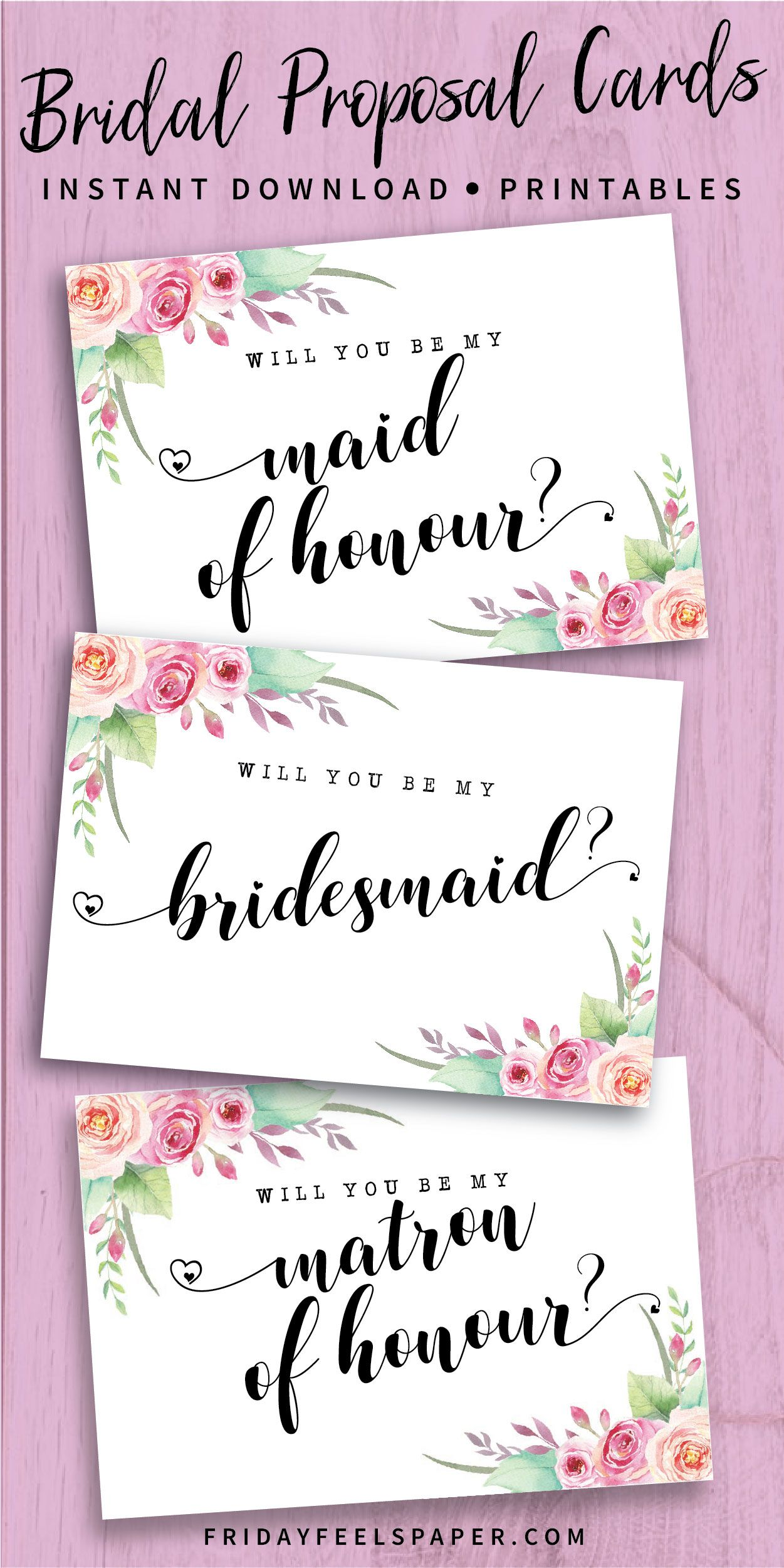Set of 6 will you be my Bridesmaid cards maid of honour chief bridesmaid wedding proposal matron of honour bridal party hen bachelorette