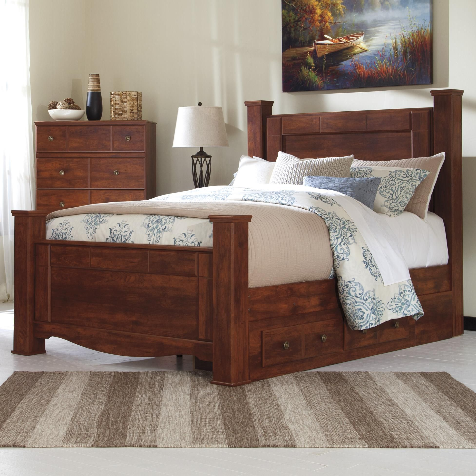 Queen Poster Bed with Underbed Storage Bed with underbed