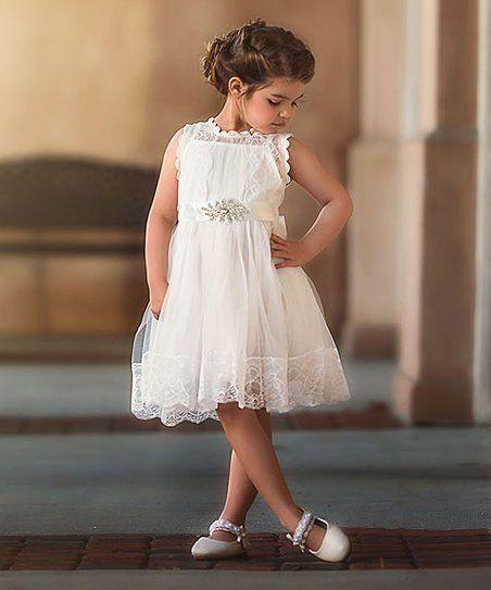 Trish Scully Child White Lace-Accent Sophia A-Line Dress ...