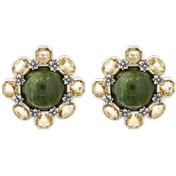 Stephen Dweck Green Quartz Button Earrings ($945) ❤ liked on Polyvore featuring jewelry, earrings, accessories, flowers, cocktail jewelry, holiday earrings, flower jewelry, stephen dweck jewelry and bezel set earrings