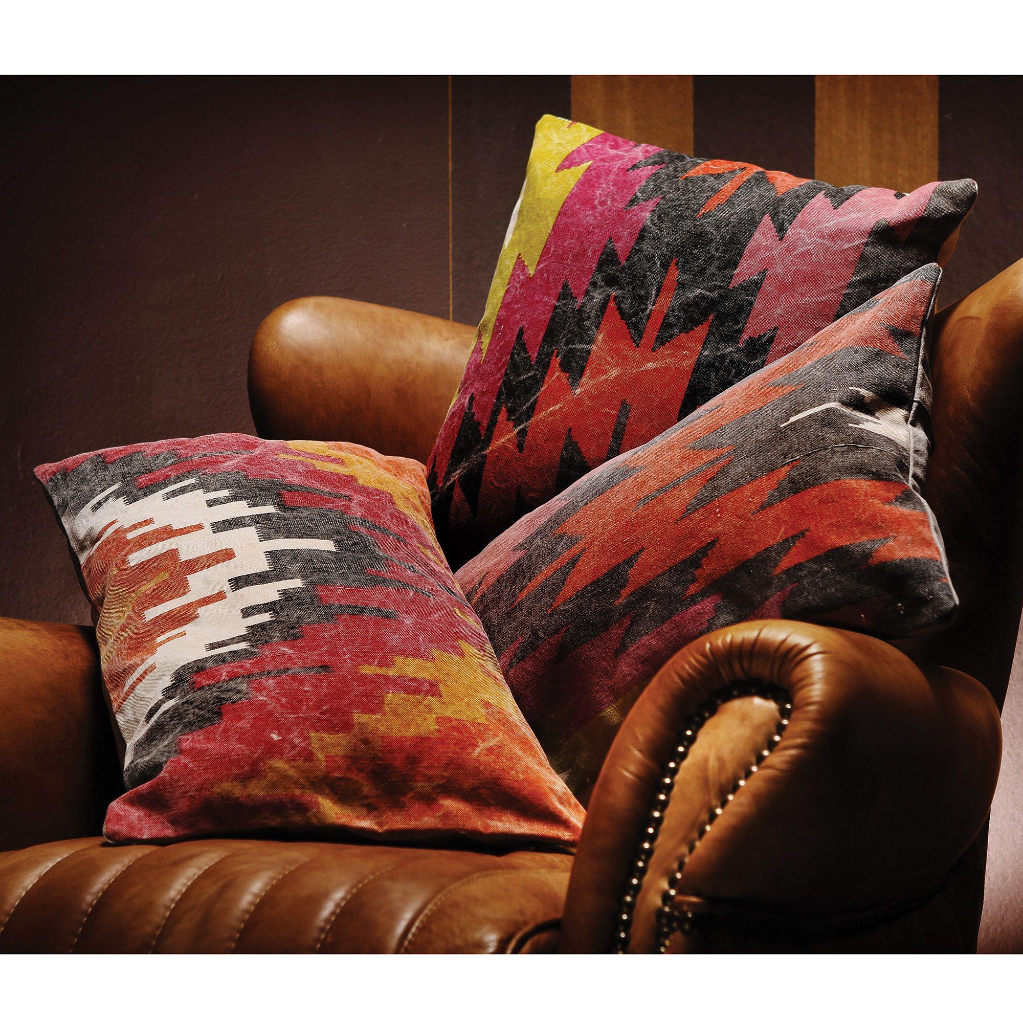 coussin en toile paisse motifs ethniques ethnique. Black Bedroom Furniture Sets. Home Design Ideas