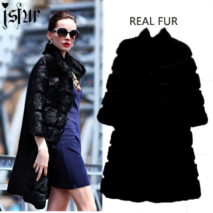 Unique Design Fall Winter Snow Rabbit Fur Coat Women 2015 Street ...