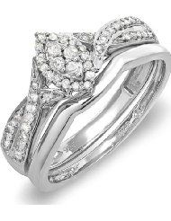 0.33 Carat (ctw) Sterling Silver Round Diamond Ladies Marquise Shape Bridal Promise Engagement Ring Set With Matching...
