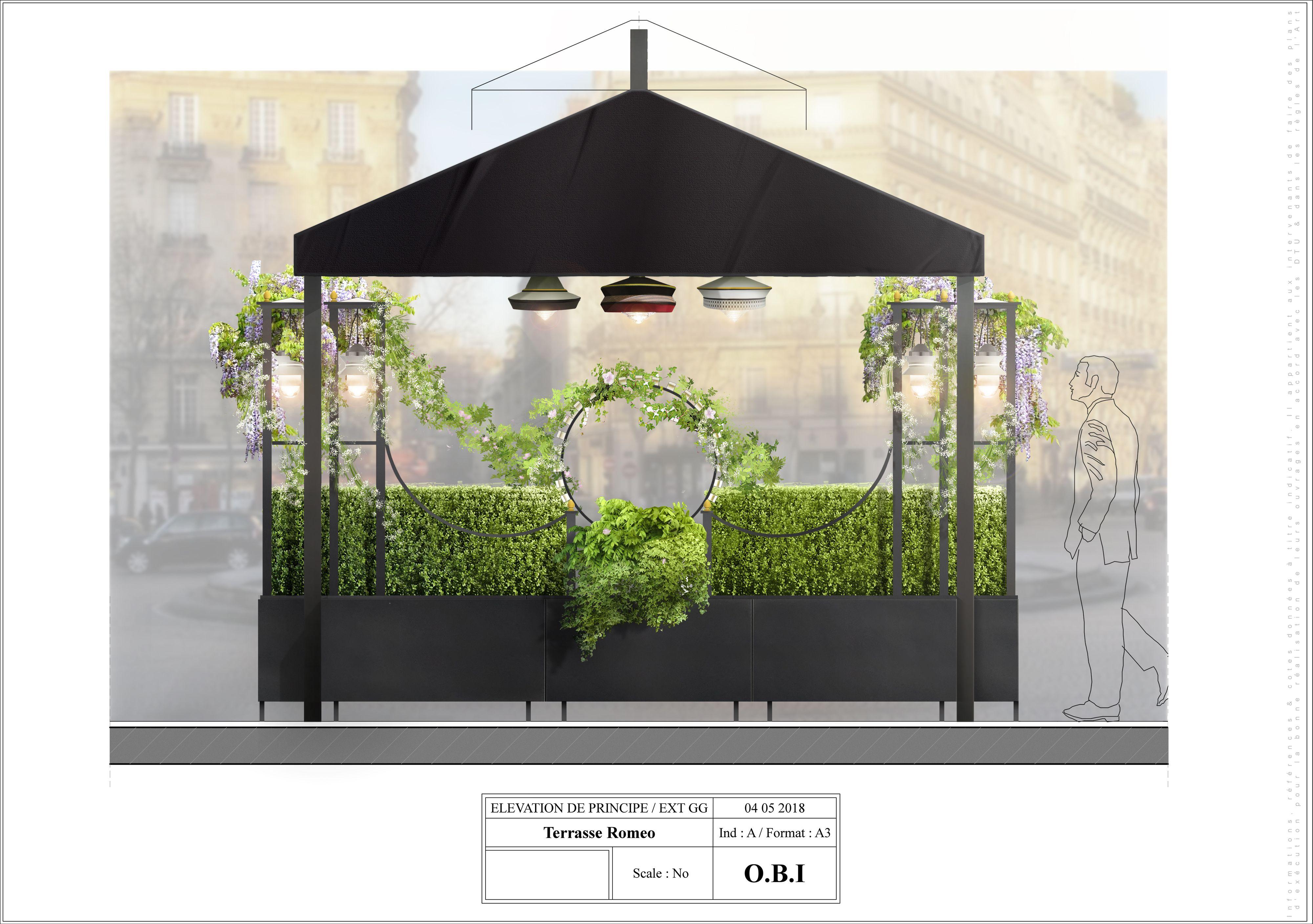 Perspective Coloree Projet De Terrasse Pour Un Restaurant Place