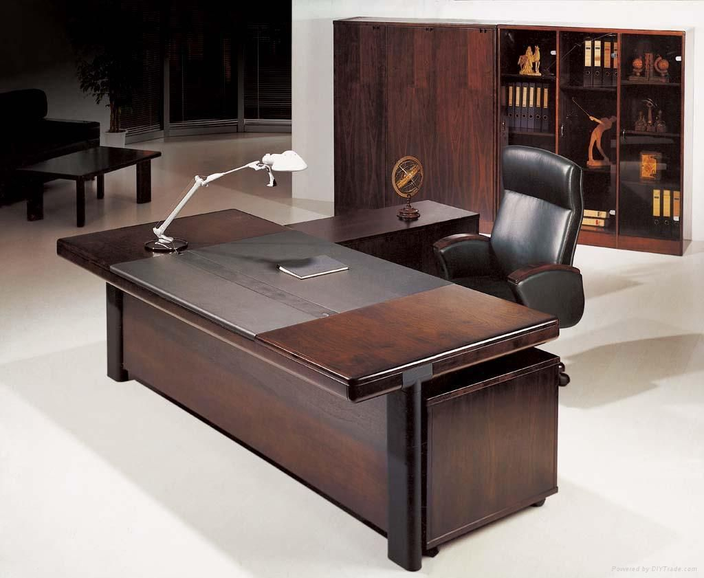Office workspace dazzling dark brown wood executive for Cool home office desk