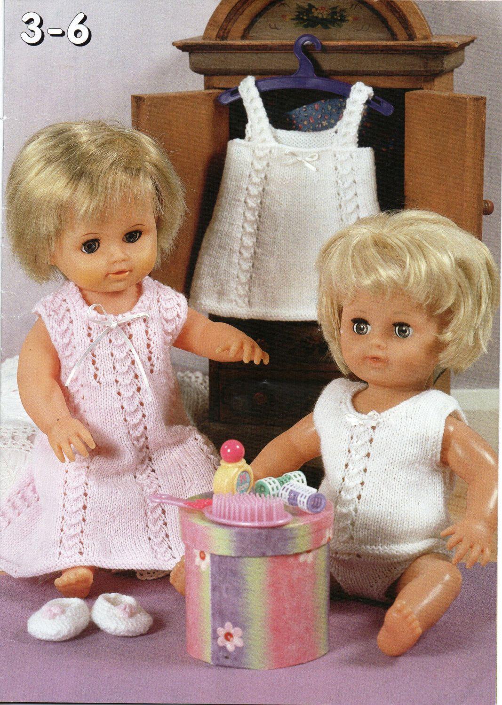 baby dolls clothes knitting pattern dolls nightie vest pants ...