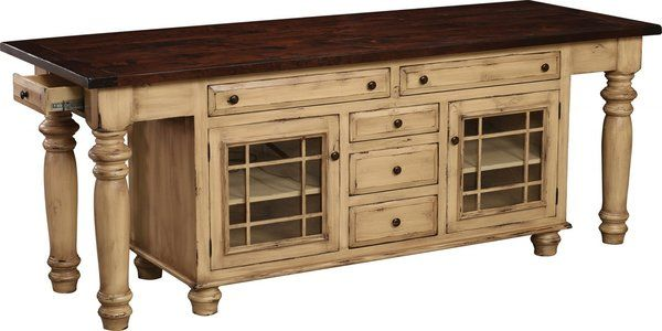 Amish Constance Bay Kitchen Island With Seven Drawers And