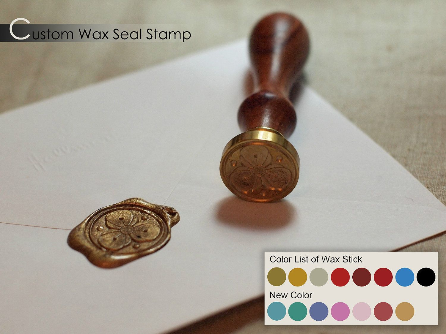 Custom Classic Wax Seal Stamp Wedding Invitation Letter Card Monogram Set  With 2 Wax Sticks.