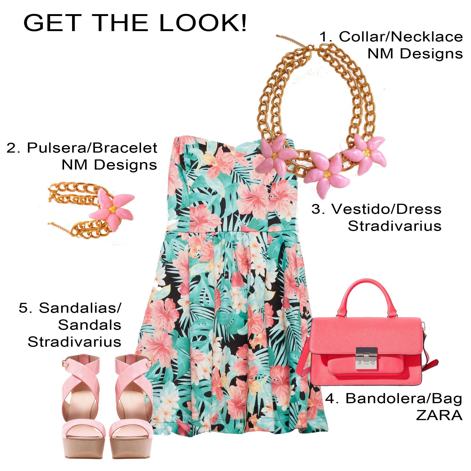 Look tropical con accesorios con flores tropicales, hechos a