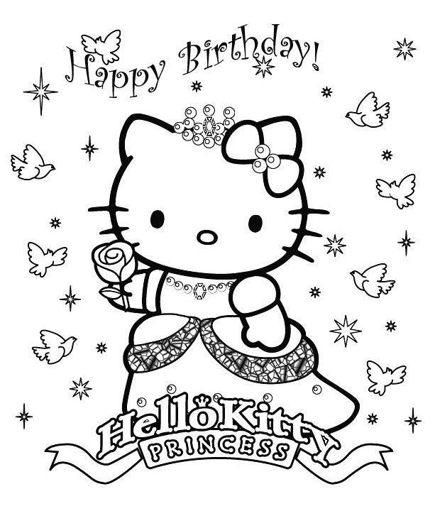 Hello Kitty As A Princess Black And White Coloring Picture