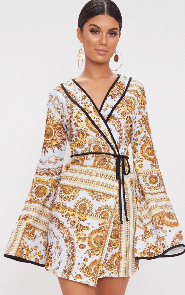 PRETTYLITTLETHING Chain Print Kimono Sleeve Wrap Dress Clearance Low Shipping Fee Outlet Hot Sale Store qn8zudsJ