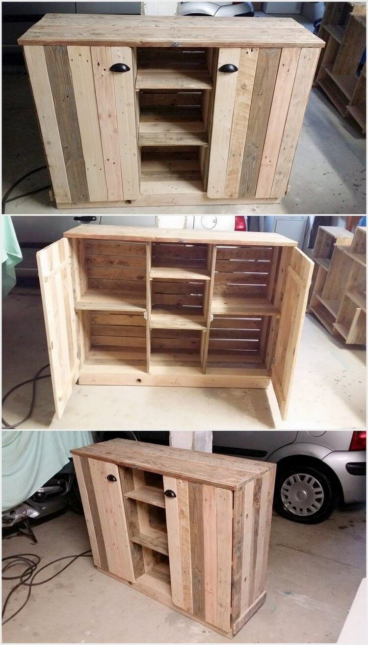 Wood pallet simple cabinet is much common in almost all the houses in this cabinet form you will be finding the 2 3 portions of the cabinets that is inside