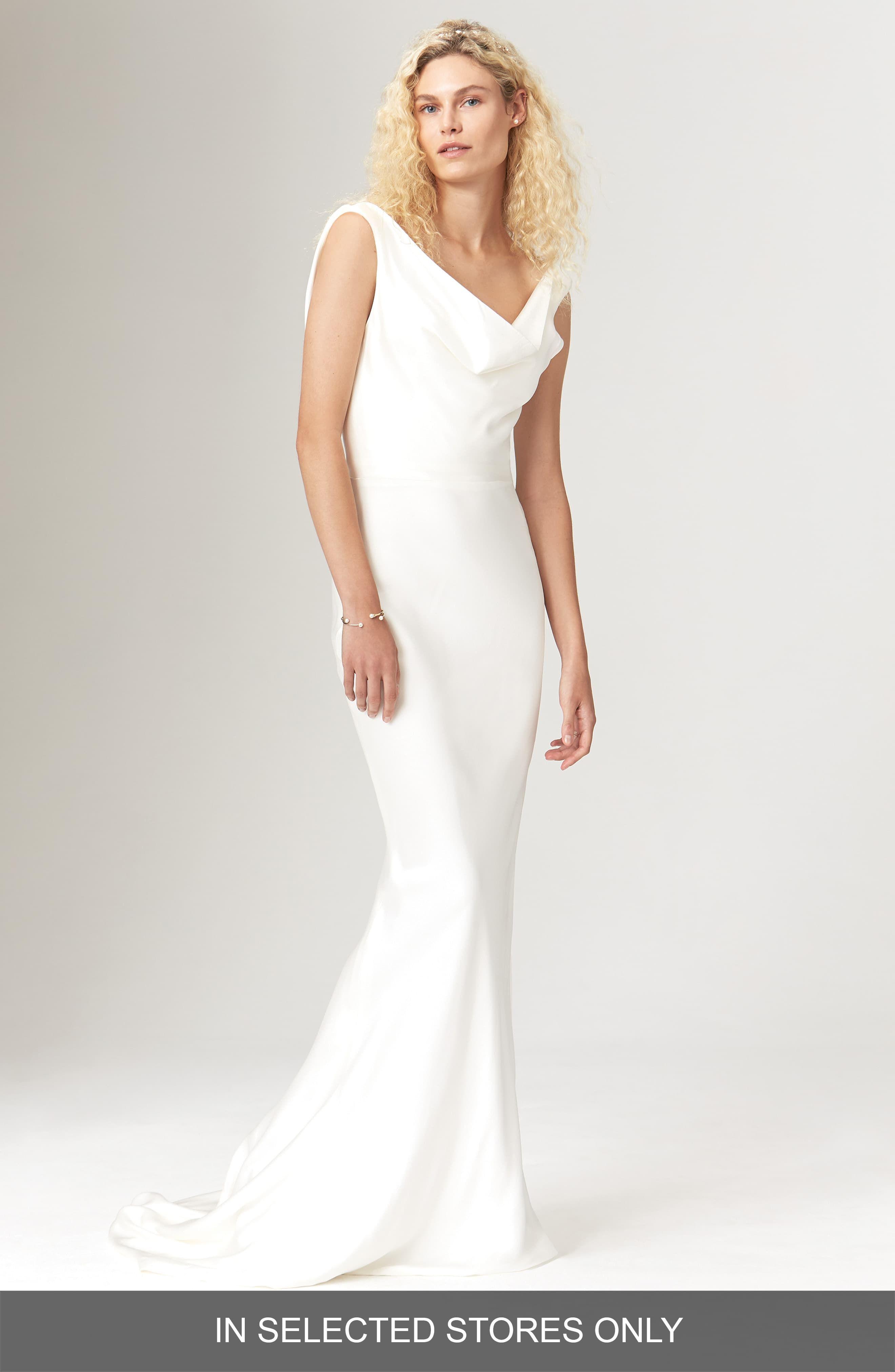 Womens Savannah Miller Avalon Satin Cowl Neck Slip Dress, Size  – Ivory