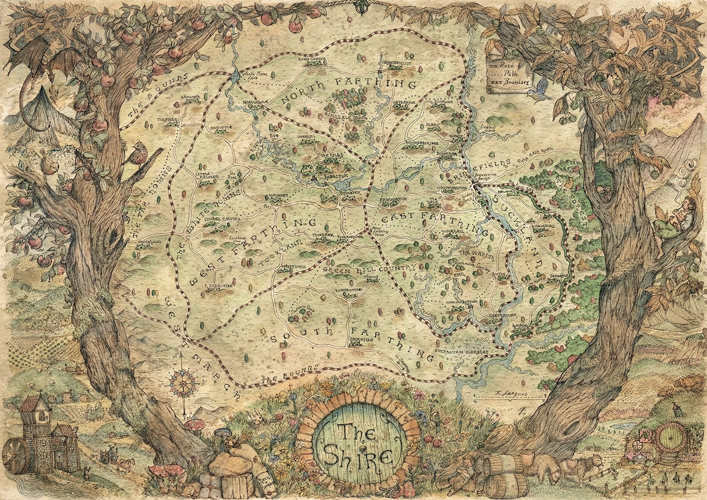 Map For Lord Of The Rings%0A Map fo the Shire  Lord of the Rings  by Francesca Baerald  Watercolour  and Ink on Paper