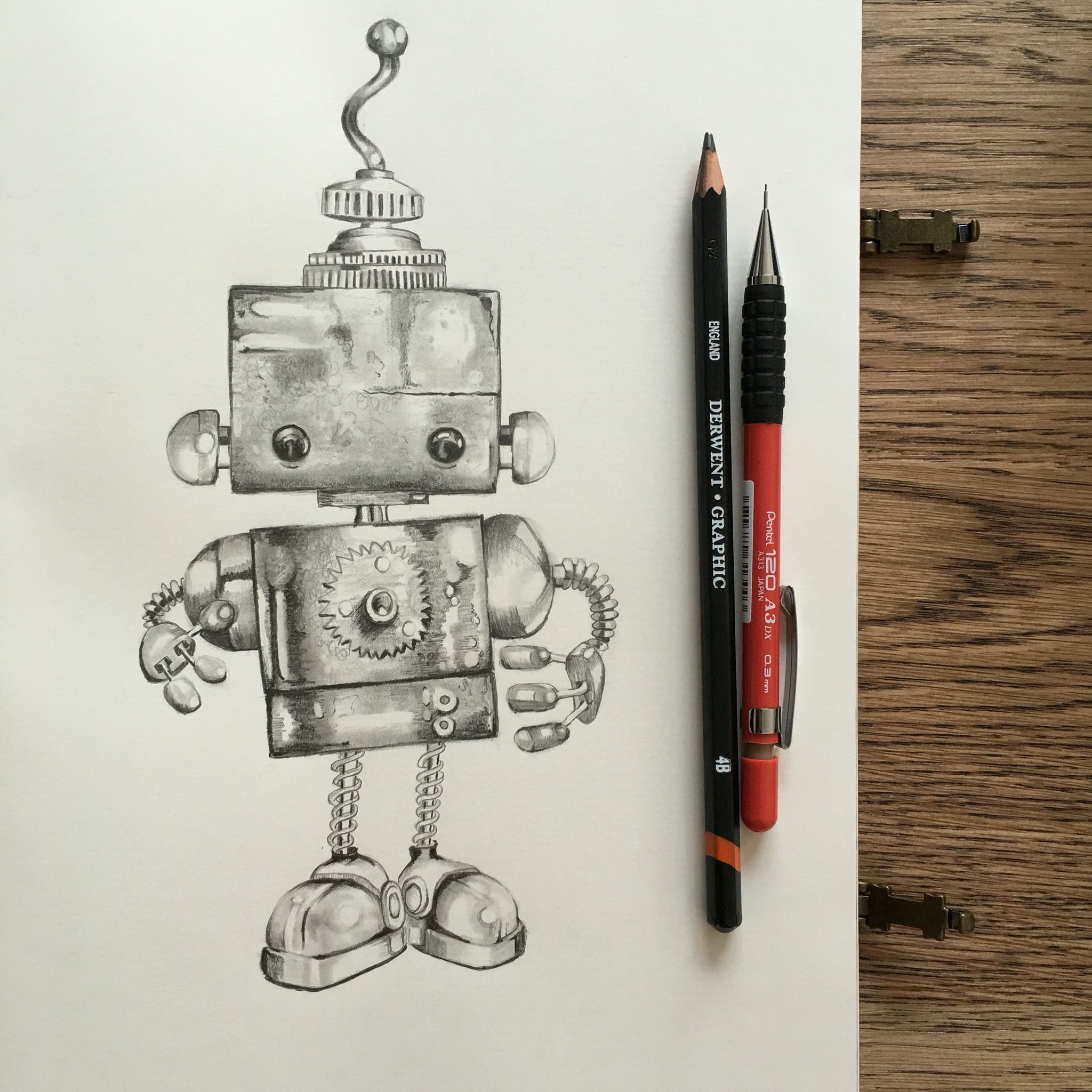 Cute robot graphite pencil drawing art class