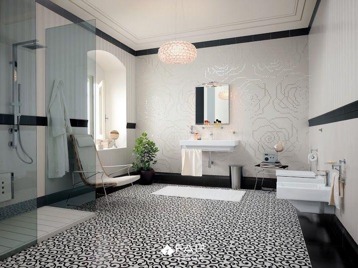 WALL Suite classic e modern bianco Suite rose bianco mosaico FLOOR Suite chic nero e bianco nero #fapceramiche #fapsuite #ceramic #interior #floor #madeinitaly #tile
