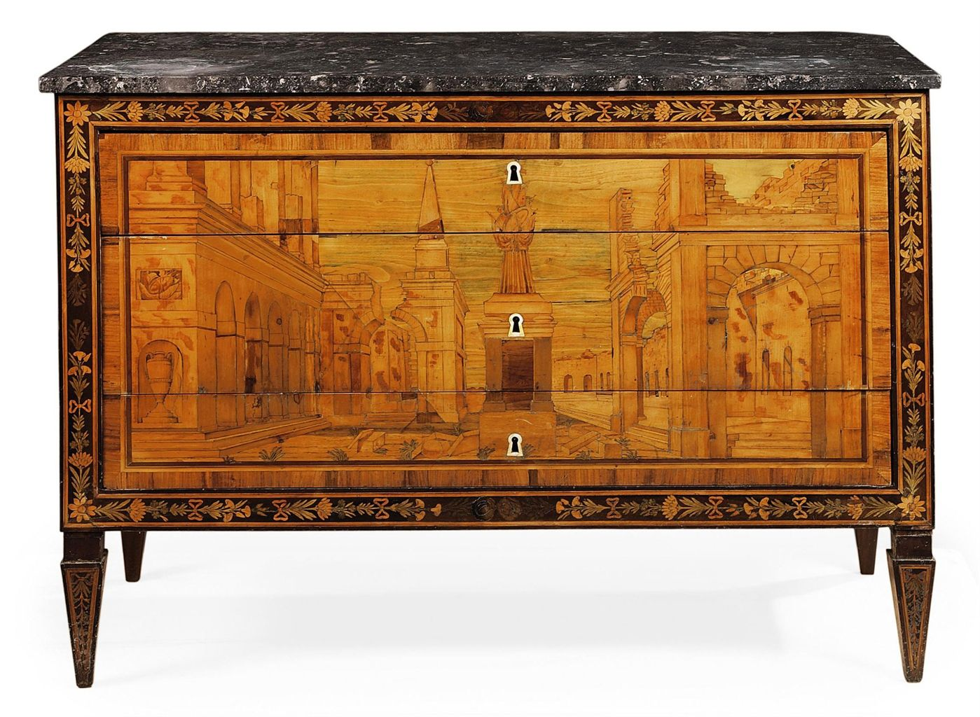 A north italian walnut and fruitwood marquetry commode in for Mobili antichi 1800