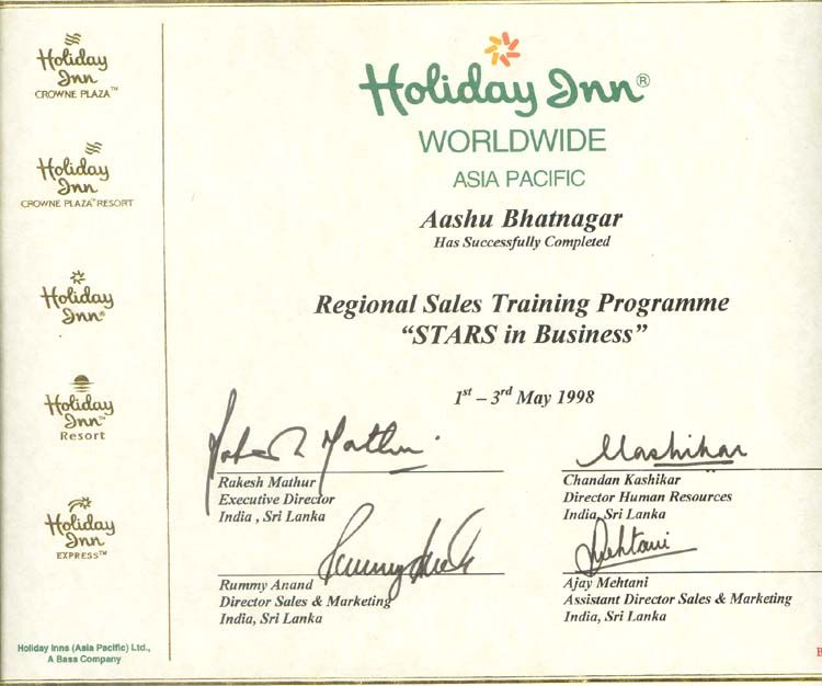 IHG's Recognition For Participation In Sales Training