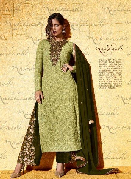 d686393ec27 Green wedding wear Punjabi kameez suit with palazzo pants