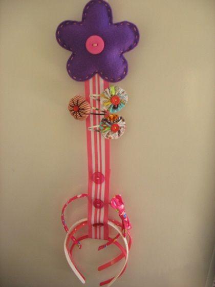Manualidades Vendibles.Flower Hairclips Holder Manualidades Vendibles Felt Hair