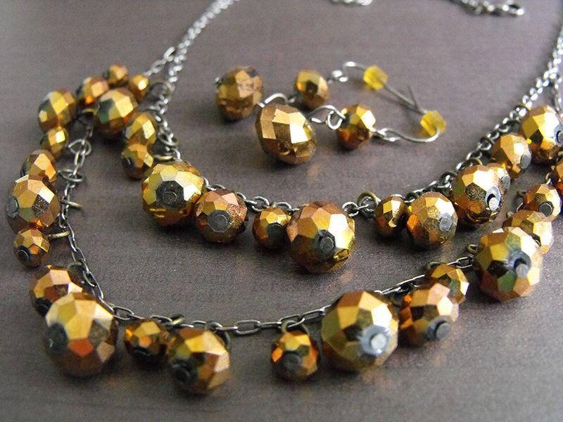 Golden Faceted Glass Crystals 2-Strand Necklace Earrings Croft and Barrow KOHLS #CroftandBarrow #StrandString