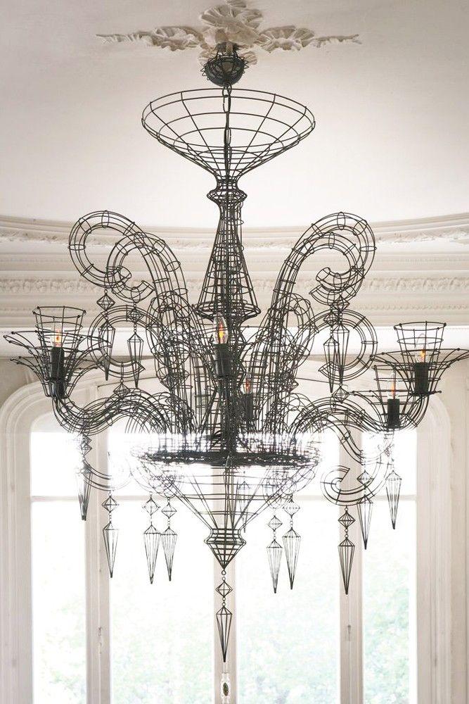 angelus shadow black wire chandelier via rockett st george k rh pinterest com how to wire a chandelier light uk wiring a 6 light chandelier