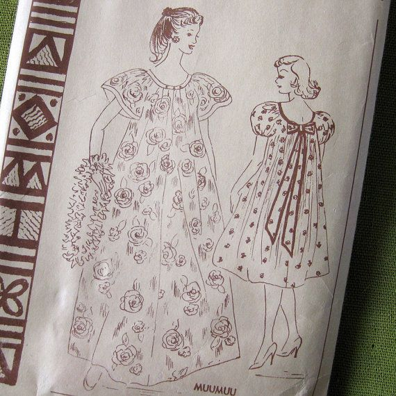 Vintage Sewing Pattern - Women\'s Muu Muu / Polynesian Pattern 110 ...