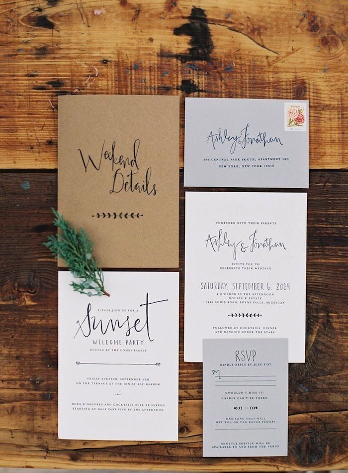 fun modern wedding invitations%0A Industrial Chic Wedding Invitation by Ashley Parker Creative for a Modern  Wedding on Kraft Paper with Charcoal Ink and illustrations of Ferns and L u
