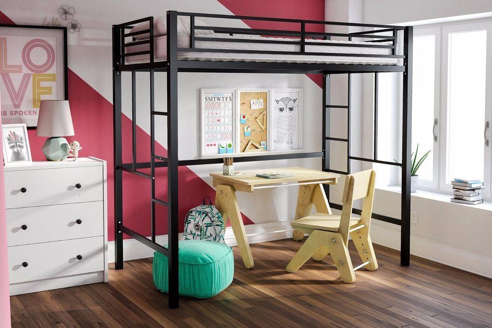 Twin Metal Loft Bed Black Kids Bedroom Bunk Bed Frame With Ladder