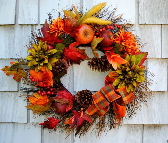 Fall Wreath Autumn Harvest Wreath For The Door Sale Floral