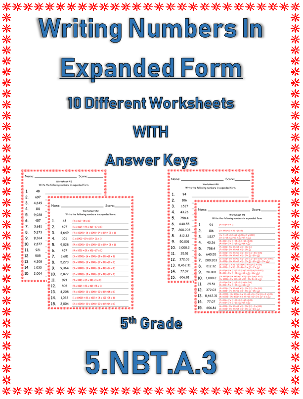 Writing Numbers In Expanded Form Pinterest Writing Numbers