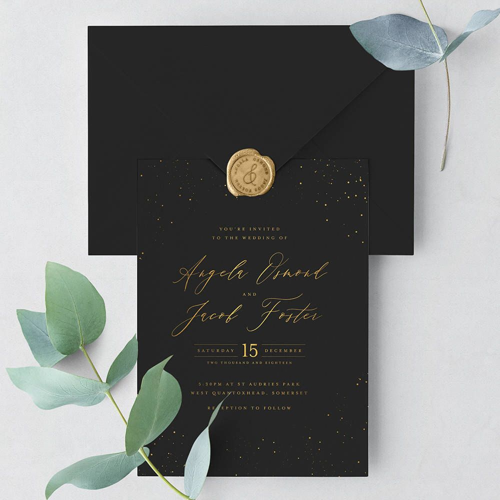 Starry Sky Wedding Invitation Suite Sample Enchanting Black And